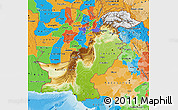 Physical Map of Pakistan, political outside, shaded relief sea