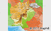 Physical Map of Pakistan, political shades outside, shaded relief sea