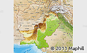 Physical Map of Pakistan, satellite outside, shaded relief sea