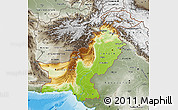 Physical Map of Pakistan, semi-desaturated, land only