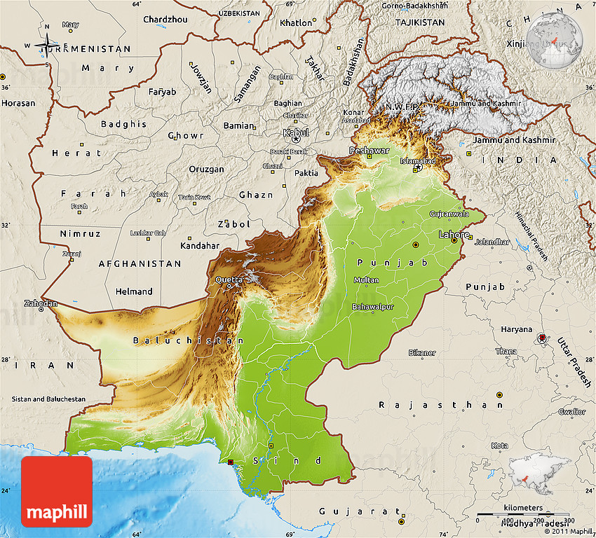 Physical Map Of Pakistan Shaded Relief Outside - Maps of pakistan