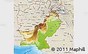 Physical Map of Pakistan, shaded relief outside