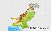 Physical Map of Pakistan, single color outside