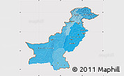 Political Shades Map of Pakistan, cropped outside