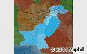 Political Shades Map of Pakistan, darken