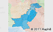 Political Shades Map of Pakistan, lighten