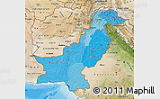 Political Shades Map of Pakistan, satellite outside, bathymetry sea