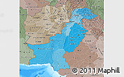 Political Shades Map of Pakistan, semi-desaturated, land only