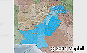 Political Shades Map of Pakistan, semi-desaturated