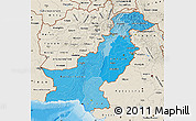 Political Shades Map of Pakistan, shaded relief outside, bathymetry sea