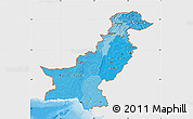 Political Shades Map of Pakistan, single color outside