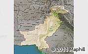 Satellite Map of Pakistan, darken, semi-desaturated, land only