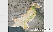 Satellite Map of Pakistan, darken, semi-desaturated