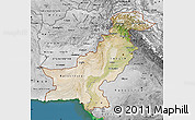 Satellite Map of Pakistan, desaturated, land only