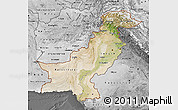 Satellite Map of Pakistan, desaturated