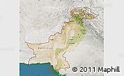 Satellite Map of Pakistan, lighten, semi-desaturated, land only