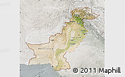 Satellite Map of Pakistan, lighten, semi-desaturated