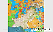 Satellite Map of Pakistan, political outside, satellite sea
