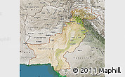 Satellite Map of Pakistan, semi-desaturated, land only
