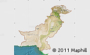 Satellite Map of Pakistan, single color outside