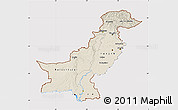 Shaded Relief Map of Pakistan, cropped outside