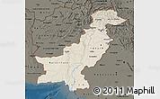Shaded Relief Map of Pakistan, darken