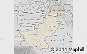Shaded Relief Map of Pakistan, desaturated