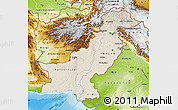 Shaded Relief Map of Pakistan, physical outside