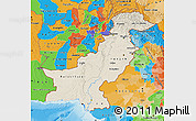 Shaded Relief Map of Pakistan, political outside, shaded relief sea