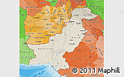 Shaded Relief Map of Pakistan, political shades outside, shaded relief sea