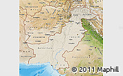 Shaded Relief Map of Pakistan, satellite outside, shaded relief sea