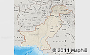 Shaded Relief Map of Pakistan, semi-desaturated, land only