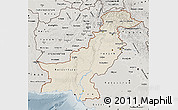 Shaded Relief Map of Pakistan, semi-desaturated