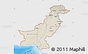 Shaded Relief Map of Pakistan, single color outside