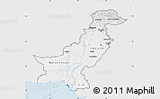 Silver Style Map of Pakistan, single color outside