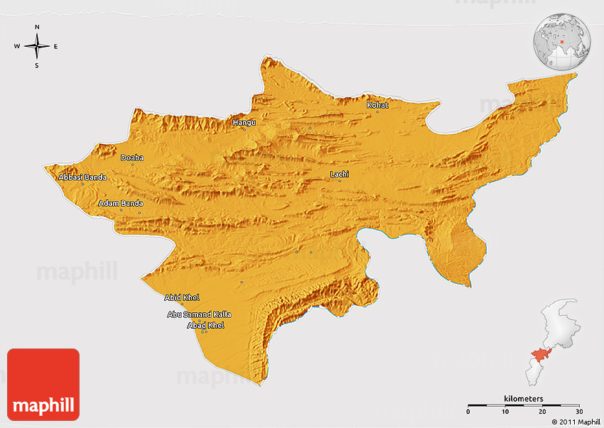 Political D Map Of Kohat Cropped Outside - Kohat map
