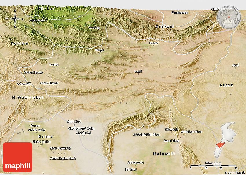 Satellite D Map Of Kohat - Kohat map