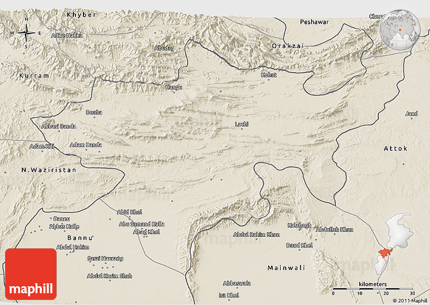 Shaded Relief D Map Of Kohat - Kohat map