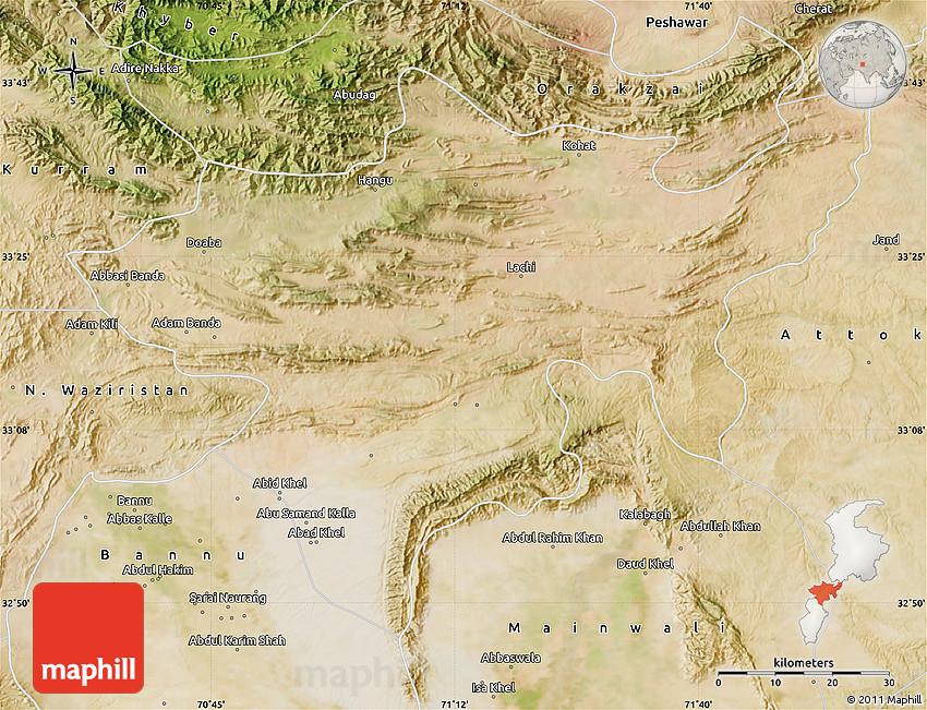 Satellite Map Of Kohat - Kohat map