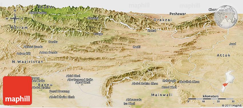 Satellite Panoramic Map Of Kohat - Kohat map