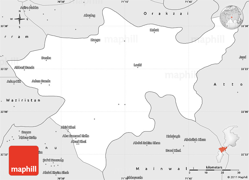 Silver Style Simple Map Of Kohat - Kohat map