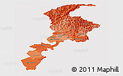 Political Shades Panoramic Map of N.W.F.P., single color outside