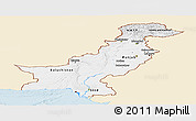 Classic Style Panoramic Map of Pakistan, single color outside