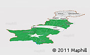 Flag Panoramic Map of Pakistan, flag rotated