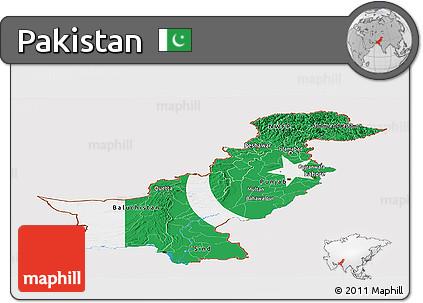 Flag Panoramic Map of Pakistan