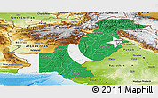 Flag Panoramic Map of Pakistan, physical outside, flag centered