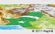 Flag Panoramic Map of Pakistan, physical outside, flag rotated