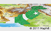 Flag Panoramic Map of Pakistan, physical outside