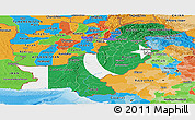 Flag Panoramic Map of Pakistan, political outside, flag centered