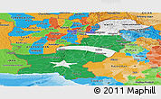 Flag Panoramic Map of Pakistan, political outside, flag rotated